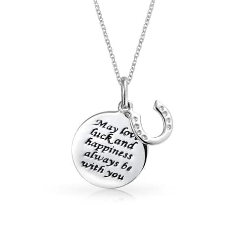 a57ed2da5ff Lucky Quote Horseshoe WORD Round Disc Pendant Necklace For Women Teen  Graduation Gift 925 Sterling Silver