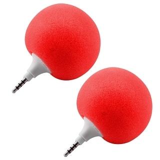 Portable Mini Ball Shape Music Player Speaker 2 PCS Red for Phone Laptop PC