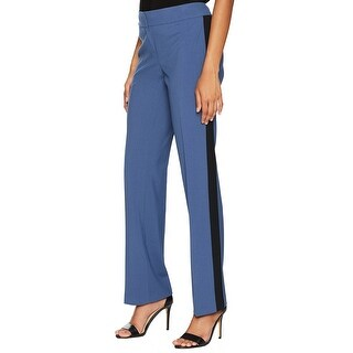 Nine West Blue Black Womens 10 Contrast-Trim Stretch Dress Pants