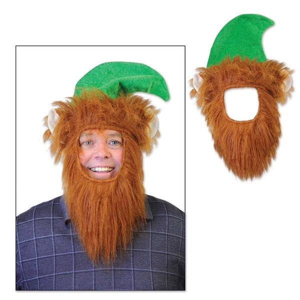 Pack of 12 Green Hats with Fuzzy Beard Christmas Elf Costume Accessories