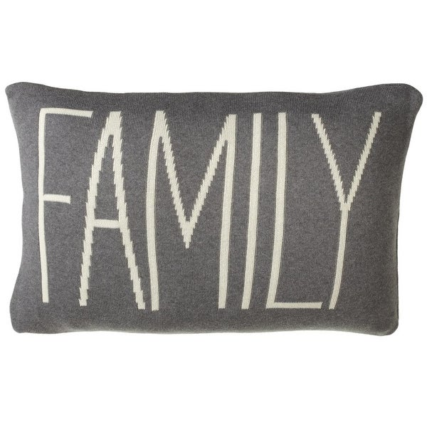 "24"" Gray and White Contemporary Pattern Rectangular ""Family"" Throw Pillow"