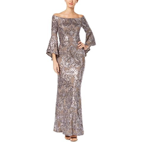 Betsy & Adam Womens Evening Dress Off-The-Shoulder Sequined