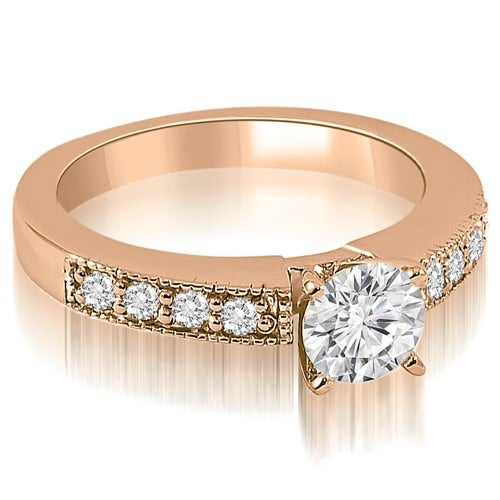 1.25 cttw. 14K Rose Gold Antique Milgrain Round Cut Diamond Engagement Ring