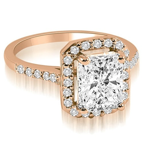 0.85 cttw. 14K Rose Gold Emerald and Round cut Halo Diamond Engagement Ring