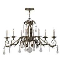 19 x 15 x 42 in. Windsor 8 Bulb Chandeliers, Antique Silver