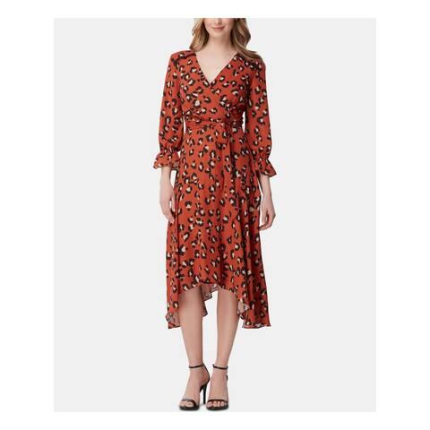 TAHARI Orange Long Sleeve Midi Dress 6