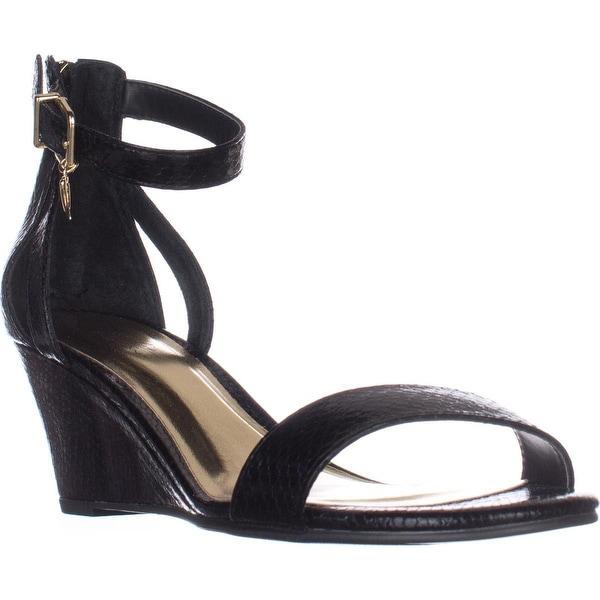 TS35 Areyana Ankle-Strap Wedge Sandals, Black