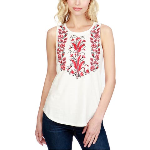 Lucky Brand Womens Embroidered Tank Top