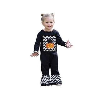 AnnLoren Baby Girls Black White Chevron Kitten Halloween Romper