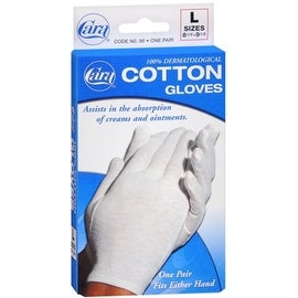 Cara 100-percent Dermatological Cotton Gloves Large 1 Pair