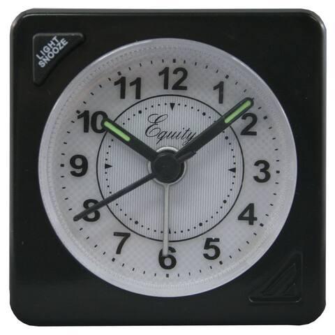 Equity 20078 Quartz Travel Alarm Clock, Black Case with Alarm & Snooze