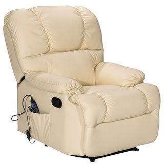 Costway Recliner Massage Sofa Chair Deluxe Ergonomic Lounge Couch Heated W/Control Beige
