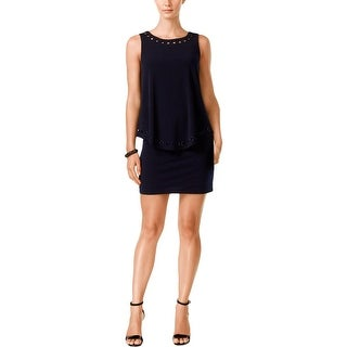 Jessica Howard Womens Petites Cocktail Dress Embellished Cut-Out