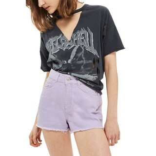Topshop Lilac Purple Womens Size 6 High-Rise Denim Raw Hem Shorts