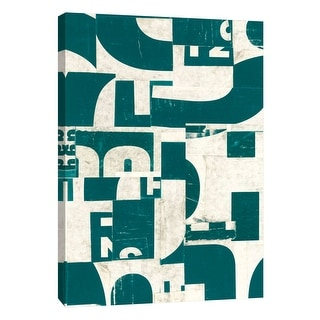 """PTM Images 9-105348  PTM Canvas Collection 10"""" x 8"""" - """"Collaged Letters Dark Green F"""" Giclee Abstract Art Print on Canvas"""