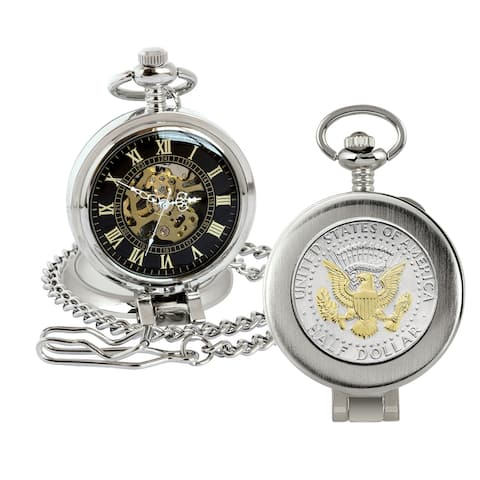 Selectively Gold-Layered Seal JFK Half Dollar Coin Pocket Watch - 2.75 x 1.5