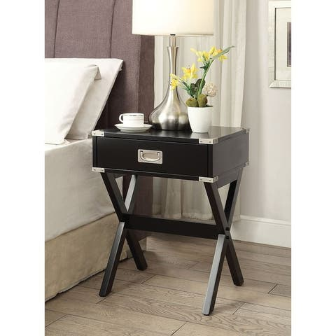TiramisuBest Wooden End Table/Night Table in White/Black