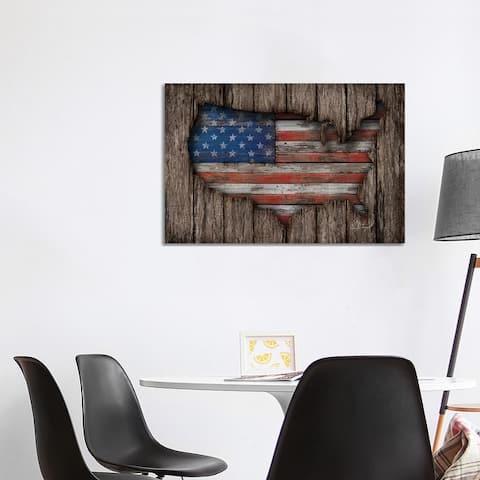 "iCanvas ""American Wood Flag"" by Diego Tirigall Canvas Print"