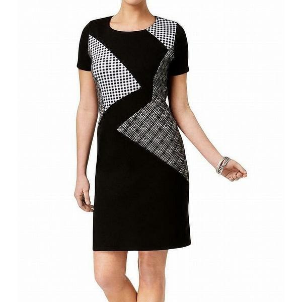 NY Collection Black Women's Size Large L Mixed Print Sheath Dress