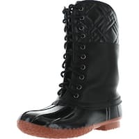 Forever Kyla-7 Women's Diamond Shape Quilted Deco Lace Up Waterproof Duck Boots