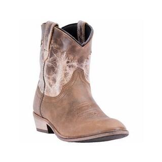 "Dingo Western Boots Womens Aubrey 6"" Round Cognac Bone DI 863"