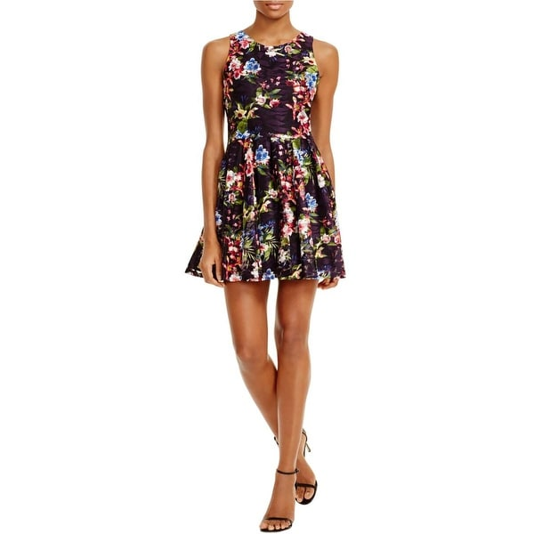 Aqua Womens Babydoll Dress Lace Floral Print