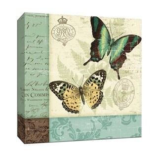 "PTM Images 9-152833  PTM Canvas Collection 12"" x 12"" - ""Butterfly Patchwork I"" Giclee Butterflies Art Print on Canvas"