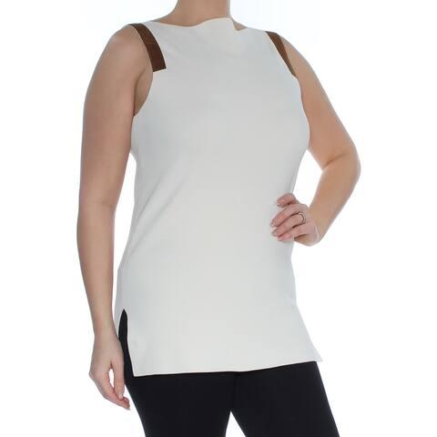 RALPH LAUREN Womens Ivory Sleeveless Boat Neck Sweater Size L