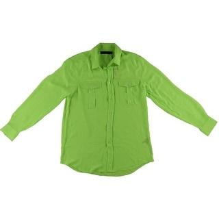 Polo Ralph Lauren Womens Chiffon Sheer Button-Down Top - L