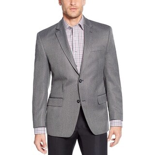 ANDREW FEZZA Classic Fit Black and White Herringbone Two Button Sportcoat Blazer