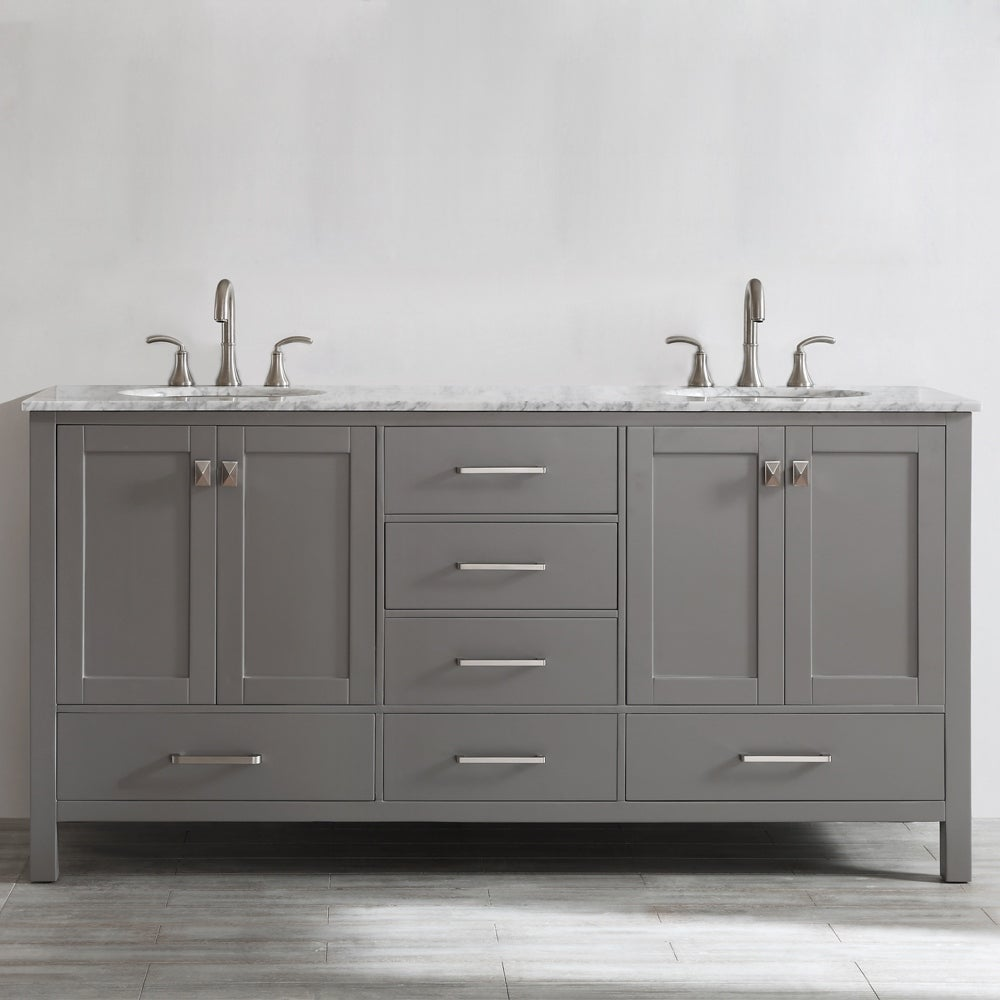 Gela 72 Inch Grey Double Vanity With Carrera White Marble Top On Sale Overstock 10601778