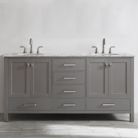 Gela 72-inch Grey Double Vanity with Carrera White Marble Top
