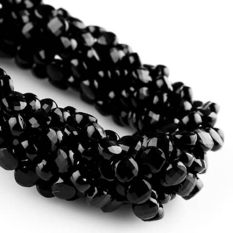 Evaluesell Black Spinel Natural Faceted Coin Beads
