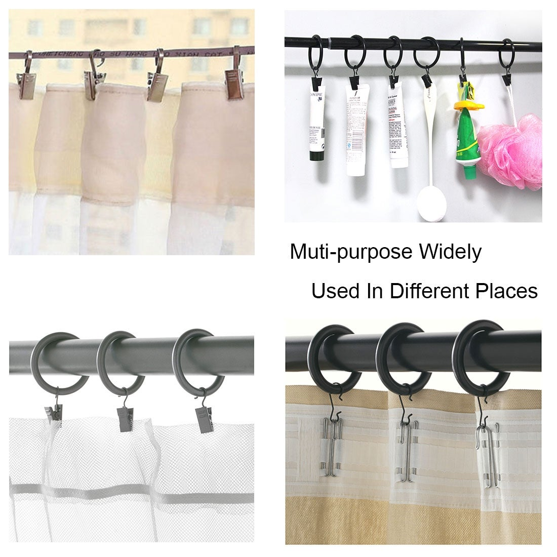 30 Pack Curtain Clips Drapery Shower Rings W Clips 1 5 Interior Dia Copper Tone 1 5 Inner Dia