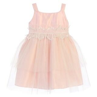 Sweet Kids Baby Girls Pink Tulle Reverse Peplum Flower Girl Dress