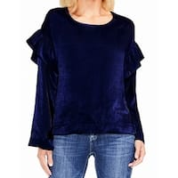 Two By Vince Camuto Blue Womens Size Medium M Velvet Ruffle Top