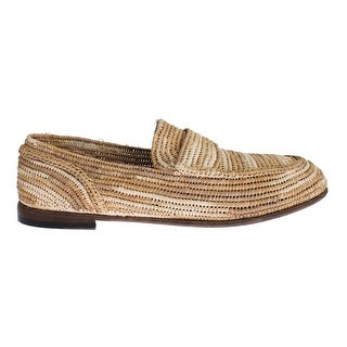 Dolce & Gabbana Beige Raffia Dress Formal Mens Loafers Shoes - 39