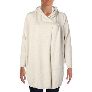Eileen Fisher Womens Plus Wool Long Cardigan Sweater