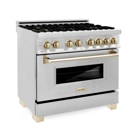 """ZLINE Autograph Edition 36"""" Dual Fuel Range in Stainless Steel with Accents"""