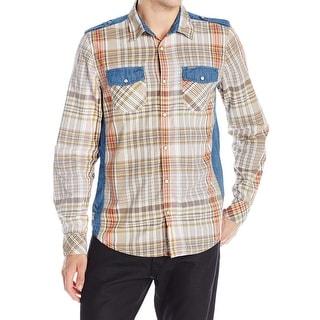 Buffalo David Bitton NEW Brown Blue Mens Size XL Button Down Shirt