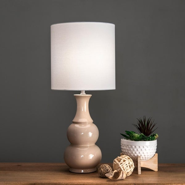 "nuLOOM 29"" Samantha Ceramic Gourd Linen Shade Table Lamp. Opens flyout."