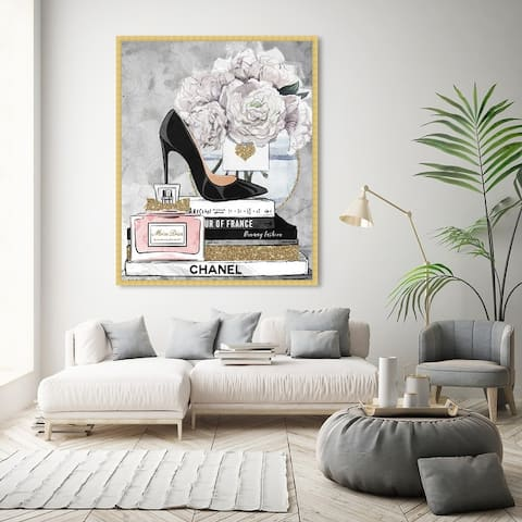 Oliver Gal 'Blooming Books from Paris' Fashion and Glam Wall Art Framed Print Books - Black, White