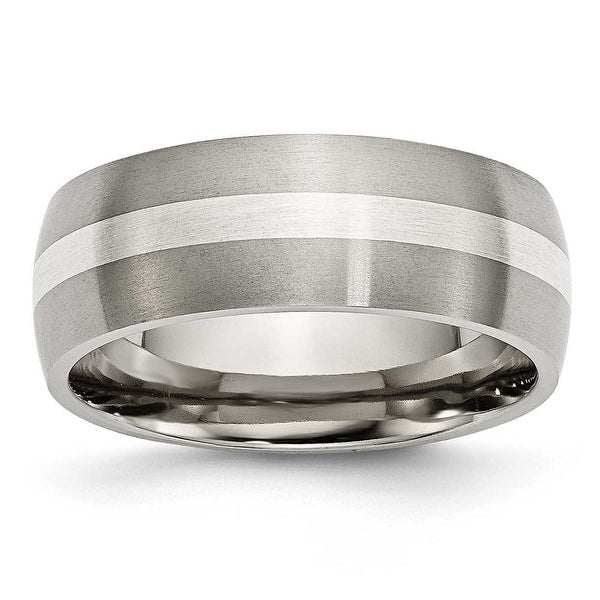 Chisel Sterling Silver Inlaid Brushed Titanium Ring (8.0 mm) - Sizes 6-13