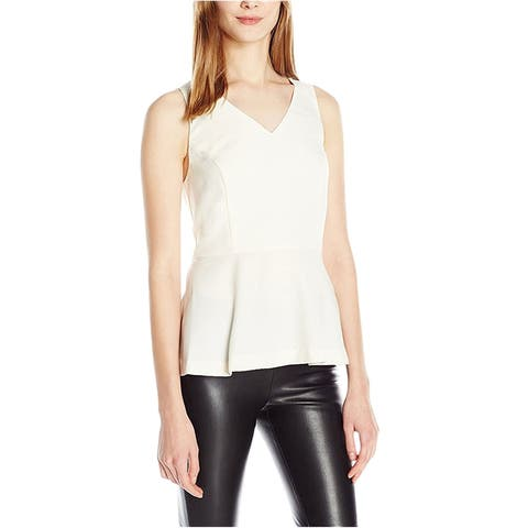 Kensie Womens Peplum Sleeveless Blouse Top, off-white, Medium