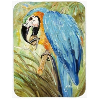 Carolines Treasures Blue Parrots Glass Cutting Board, Large