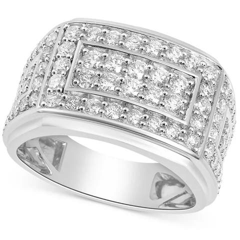 2Ct Diamond Mens Ring in 10k White or Yellow Gold