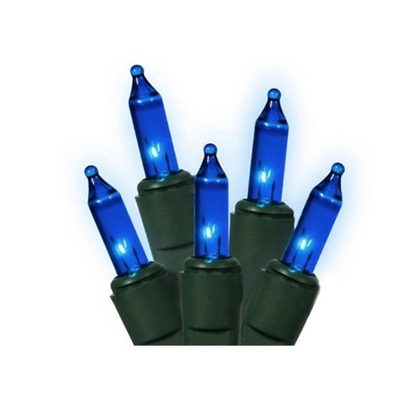 Set of 140 Blue Everglow Chasing Mini Christmas Lights - Green Wire