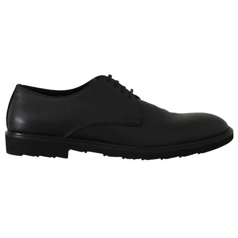 Black Leather Laceups Derby Laceups Men's Shoes