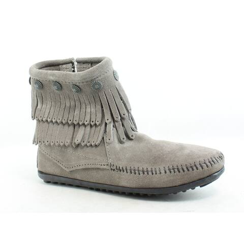 Minnetonka Womens Hi Top Back Zip Dbl Frnge Grey Moccasin Boots Size 5.5