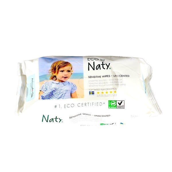 Naty Eco Sensitive Unscented Wipes 56 per pack 12 packs per case.